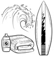 doodle beach surfing set vector image vector image
