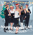employees congratulate colleagues with new year vector image vector image