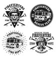 firefighters set four emblems or badges vector image vector image