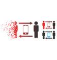 fractured dotted halftone men smartphone exchange vector image vector image