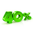 glossy green 40 forty percent off sale isolated vector image vector image