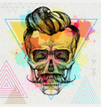 hand drawing hipster skull vector image vector image