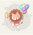 hand drawn happy cute lion with balloons for kids vector image vector image