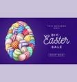 happy easter card with eggs many beautiful vector image vector image