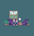 little girls in livingroom vector image