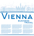 Outline Vienna Skyline with Blue Buildings vector image