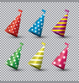 party hat isolated set on transparent background vector image vector image