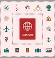 passport icon symbol elements for your design vector image