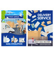 postman near post office letters and mailbox vector image vector image