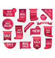 price tags red ribbon banners sale promotion we vector image vector image