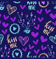romantic doodle pattern with hearts-04 vector image vector image
