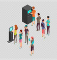 row of waiting people at atm payment machine and vector image vector image