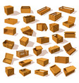 set isolated isometric wood boxes containers vector image vector image