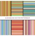 Set of colorful ethnic seamless patterns design vector image