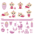 Set of cute baby girls vector image vector image