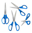set scissors with blue plastic handles open vector image vector image