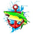 shark anchor stylish shark logo vector image vector image