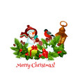 snowman with christmas gift and xmas garland badge vector image vector image
