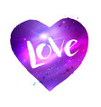 space heart with love word lettering vector image vector image
