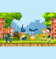 urban kids show street dance at the park vector image