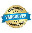 Vancouver round golden badge with blue ribbon vector image vector image