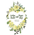 wedding floral invite card watercolor green vector image vector image