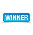 Winner blue 3d realistic square isolated button vector image vector image