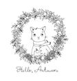 Wreath of autumn leaves cute cartoon cat vector image vector image