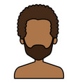 young black man shirtless avatar character vector image