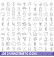100 characteristic icons set outline style vector image