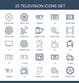 25 television icons vector image vector image