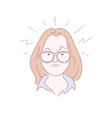 angry girl in glasses hand drawn vector image