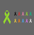 awareness ribbons various colors vector image
