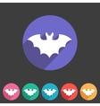 Bat flat halloween icon badge vector image vector image
