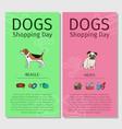 beagle and mops dog shopping day vector image vector image