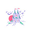 big fairytail medieval castle towers on white vector image