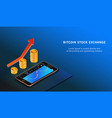bitcoin up growth concept bitcoin revenue forex vector image