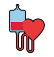 blood bag donation with heart vector image