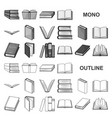 book in the binding monochrom icons in set vector image vector image