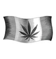 cannabis day flag hand drawing vintage style vector image vector image