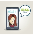 cartoon smartphone woman mobile chat graphic vector image