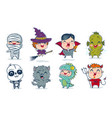 children with costumes for halloween vector image vector image
