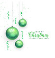 christmas balls festival decoration card design vector image