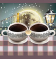 coffee mugs heart shape full moon over the vector image vector image