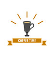coffee time high cup bright design vector image