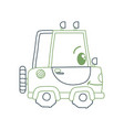 color line kawaii happy tractor vehicle transport vector image vector image