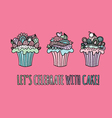 Cupcakes Hand Drawn Doodle Pink vector image vector image