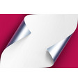 curled metalic silver corners of white vector image vector image