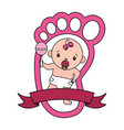 cute little bagirl with maracas and footprint vector image vector image