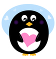 Cute Valentine penguin with pink love heart vector image vector image